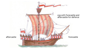 Cog with forecastle and aftercastle for defence