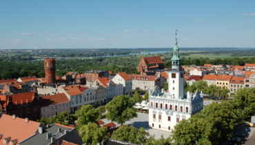 Chelmno gothic and renaissance city hall from the lookout point on the parish church tower